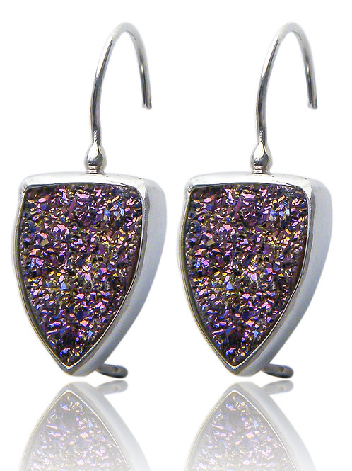 Sterling Silver Earrings with Purple Druzy Quartz