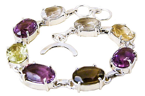 Sterling Silver Bracelet with Mixes Stones