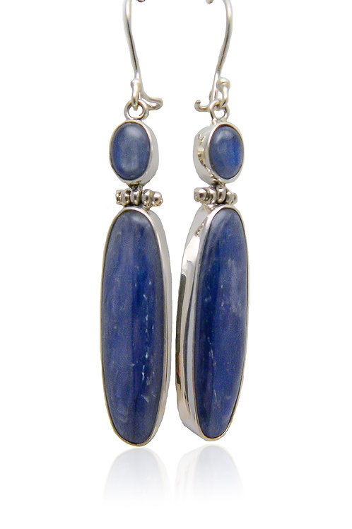 Sterling Silver Earrings with Kyanite Cabochons