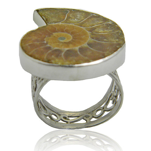 Sterling Silver Ring with Ammonite Fossil