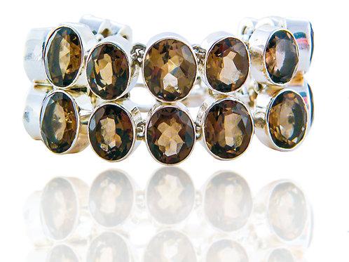 Sterling Silver Bracelet with Smokey Quartz Stones