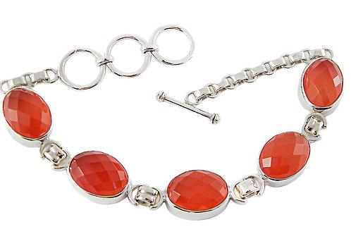 Sterling Silver Bracelet with Carnelian