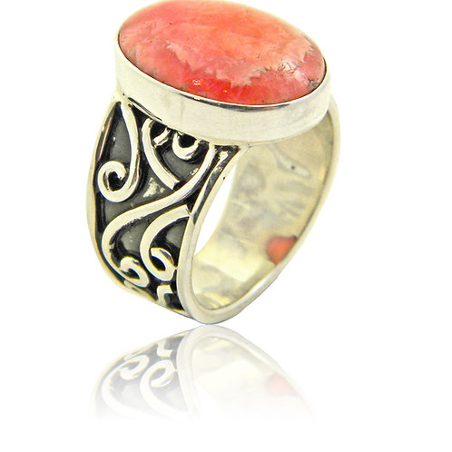 Sterling Silver Ring with Rhodocrosite Cabochon