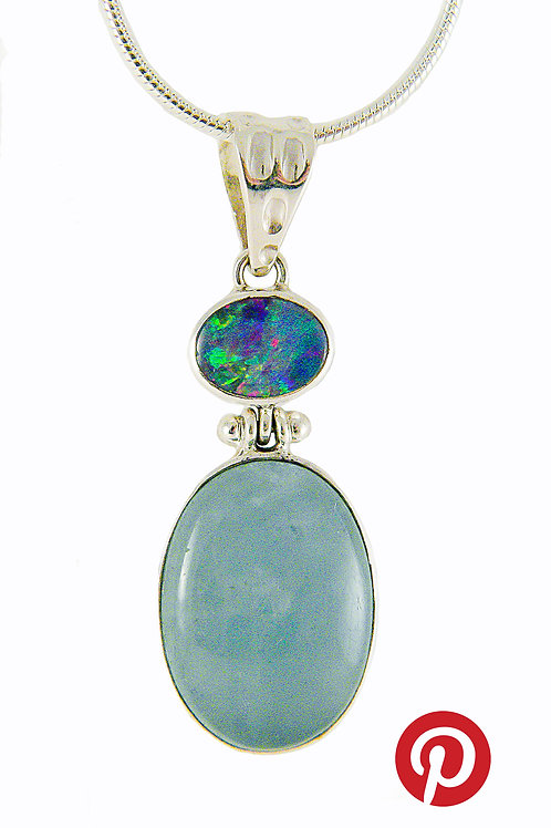 Sterling Silver Pendant with 2 Opals