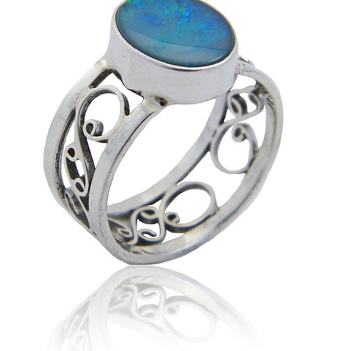 Sterling Silver Ring with Opal
