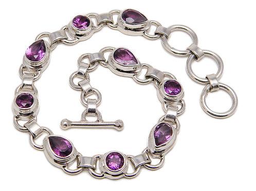Sterling Silver Link Bracelet with Amethyst