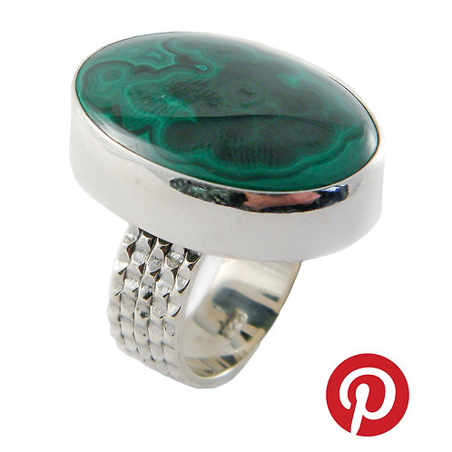 Sterling Silver Ring with Malachite Cabochon