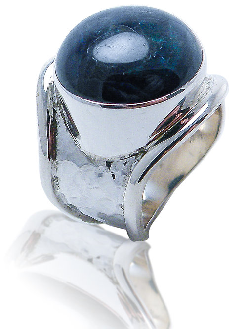 Sterling Silver Ring with Blue Apatite Cabochon
