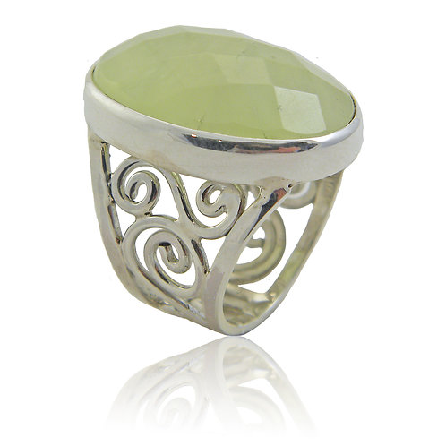 Sterling Silver Ring with Prehnite Stone