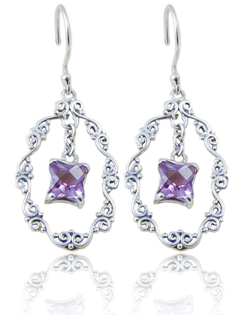silver earrings sterling amethyst dp genuine amazon nickel com dangle free celtic stone purple