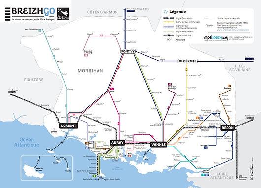 Carte des lignes de bus dans le Morbihan