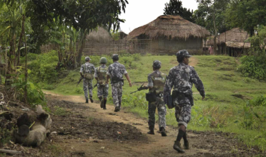 Myanmar soldiers on patrol in Rakhine state, where the military is accused of ethnic cleansing and crimes against humanity. (AP Photo)