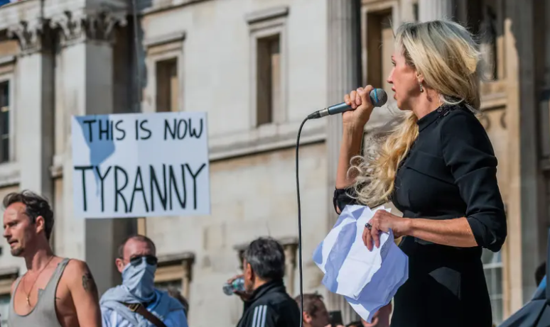 Covid-19 sceptic Kate Shemirani, a nurse suspended from practising, speaks at the rally in London yesterday. Photograph: Guy Bell/REX/Shutterstock