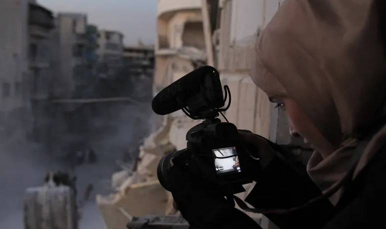 Al-Kateab filming in Aleppo during the civil war. Photograph: CAP/PR handout