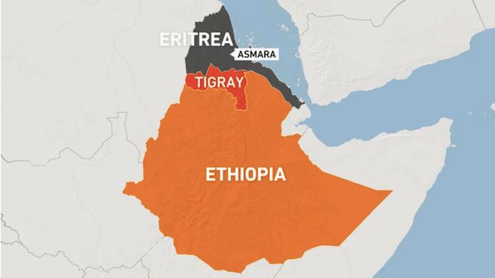 Map of Ethiopia and Eritrea including the capital of Eritrea Asmara and Ethiopia's Tigray region.