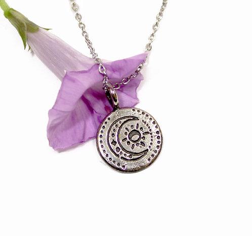 Moon Necklace, Lunar pendant, moon and sun