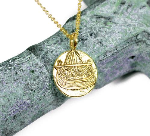 Viking Ship Coin, viking compass symbol, viking coin pendant, valhalla