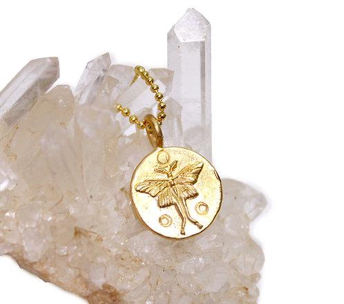 Luna Moth Pendant - Seed of Life - Lunar Symbol