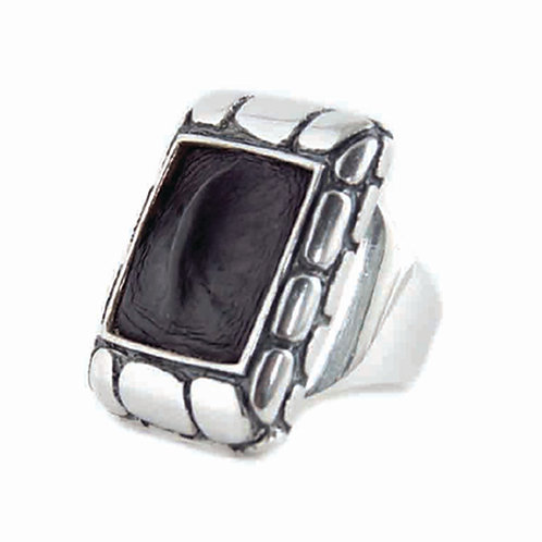 Large Square Alligator Ring, Sterling Silver