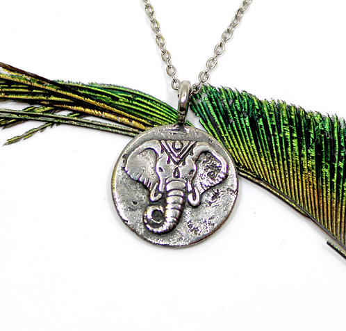 Elephant and Lotus pendant necklace