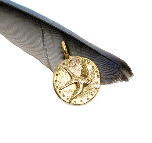 GOLD Sparrow Pendant Necklace, GOLD bird, sparrow tattoo pendant, flower mandala