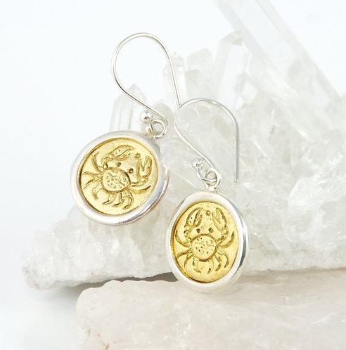 Cancer Zodiac Gold Earrings
