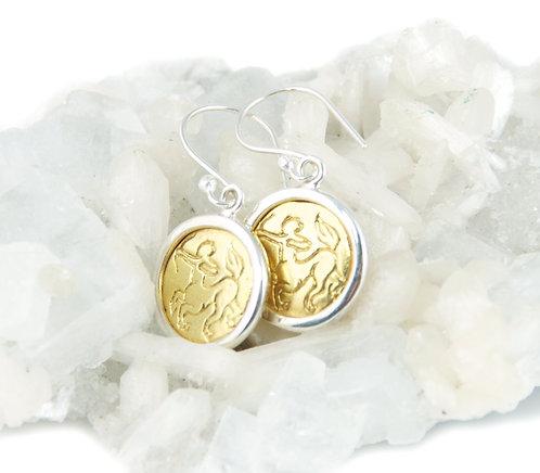 Sagittarius Zodiac Gold Earrings