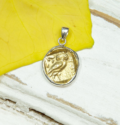 Owl of Athena Gold Coin Pendant