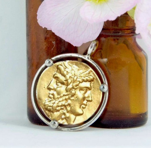 Janus Coin Pendant - Silver Framing - Gold/Silver