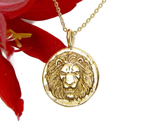 Gold Lion Necklace, Roman Lion, Gold Sun, Gold Medallion Pendant