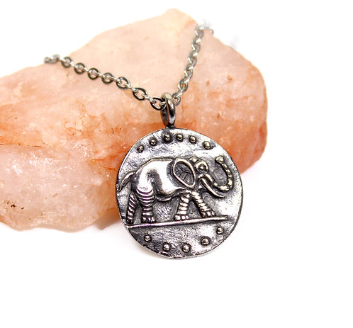 Elephant Coin Pendant - Palm Tree - Caesar coin - ancient roman