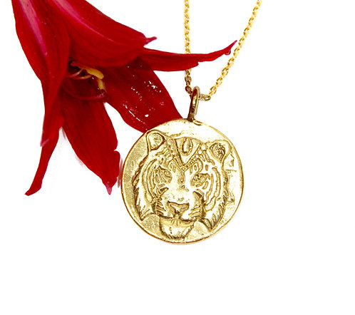 Tiger Necklace, Tiger Pendant, Cherry Blossom