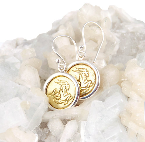 Capricorn Zodiac Gold Earrings