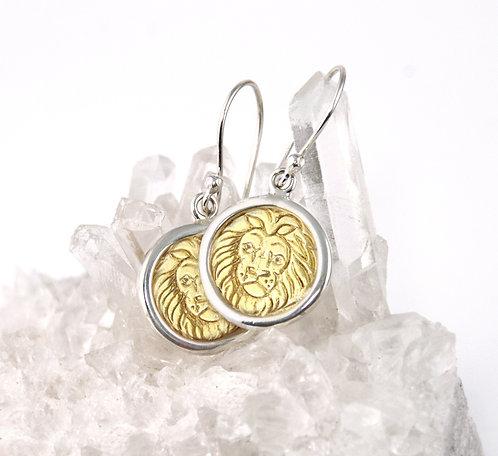 Leo Zodiac Gold Earrings