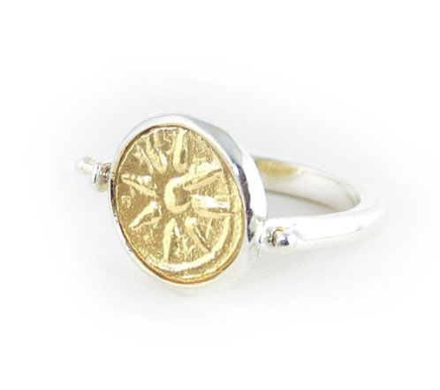 Widow's Mite Gold Coin Ring - Sterling Silver Flip Ring