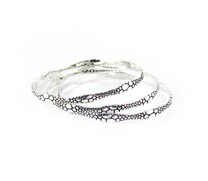 Silver Bangle with Alligator Texture II