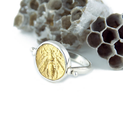 Honeybee Gold Coin Ring - Sterling Silver Flip Ring