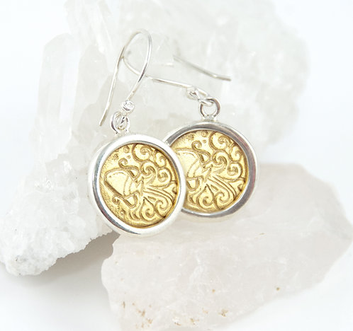 Aquarius Zodiac Gold Earrings