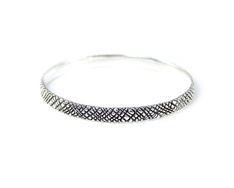 Silver Bangle with Fine Organic Texture