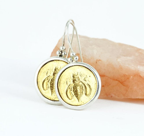 Gold Honey Bee Earrings - Medium Size II