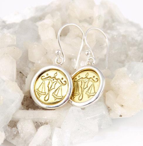 Libra Zodiac Gold Earrings