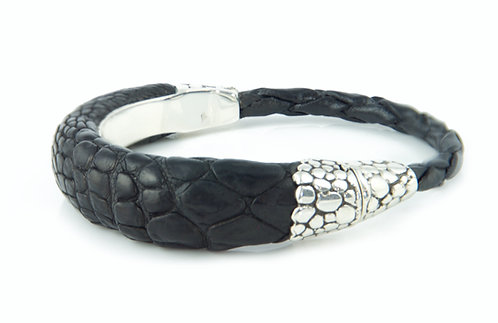 Alligator Asymmetric Bracelet, Sterling Silver