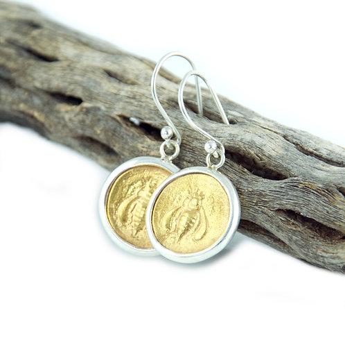 Gold Honey Bee Earrings - Medium Size