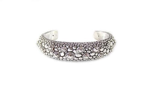 Silver Dragon Texture Cuff Bracelet