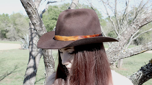 Pheasant Feather Hat Band - sunset fade