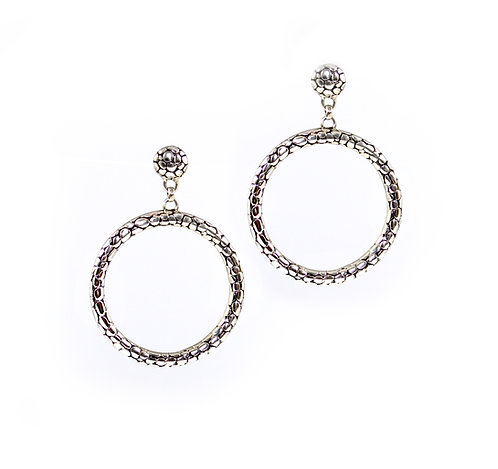 Alligator Texture - Sterling Silver Circle - Post Earring