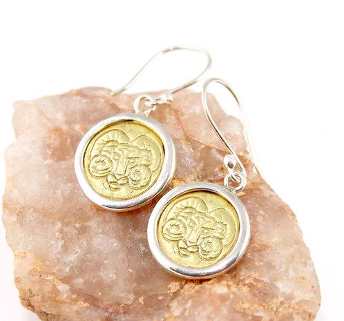 Aries Zodiac Gold Earrings