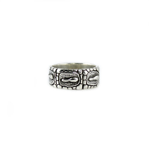Silver Alligator Texture Ring