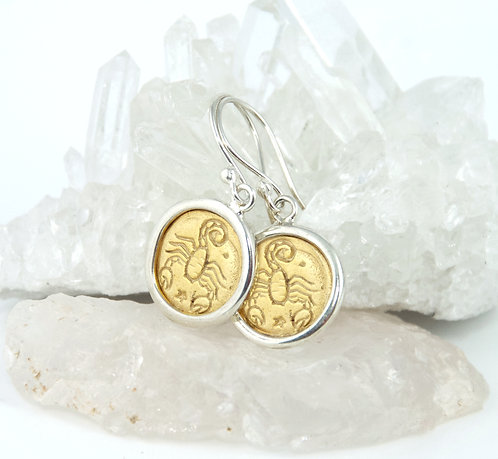 Scorpio Zodiac Gold Earrings