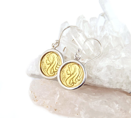 Virgo Zodiac Gold Earrings